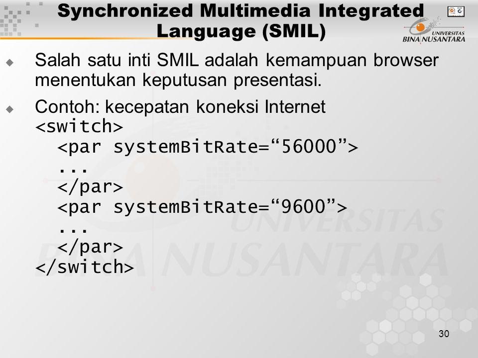 30 Synchronized Multimedia Integrated Language (SMIL)  Salah satu inti SMIL adalah kemampuan browser menentukan keputusan presentasi.  Contoh: kecep