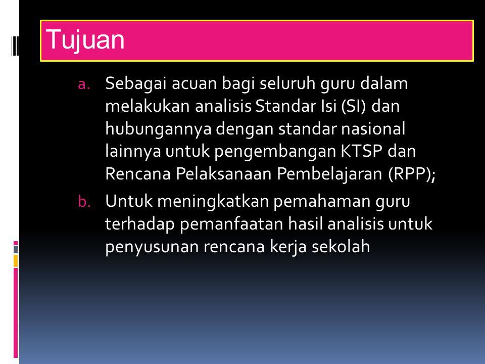 a. Sebagai acuan bagi seluruh guru dalam melakukan analisis Standar Isi (SI) dan hubungannya dengan standar nasional lainnya untuk pengembangan KTSP d