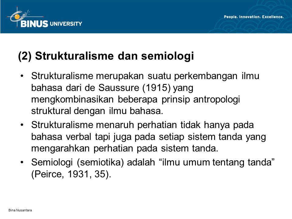 Bina Nusantara (2) Strukturalisme dan semiologi Strukturalisme merupakan suatu perkembangan ilmu bahasa dari de Saussure (1915) yang mengkombinasikan beberapa prinsip antropologi struktural dengan ilmu bahasa.