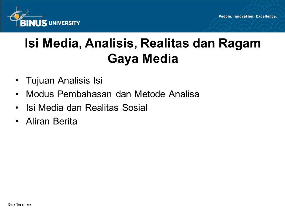 Bina Nusantara Tujuan Analisis Isi Beberapa hal yang berkaitan dengan analisis isi media adalah: (1)Isi seperti yang dikirim dan diterima (2)Pelacakan dampak (3)Isi sebagai bukti Komunikator (4) Isi media sebagai bukti masyarakat dan budaya (5)Penilaian media dan organisasinya (6) Studi isi demi isi itu sendiri (7) Konflik dan inkonsistensi tujuan