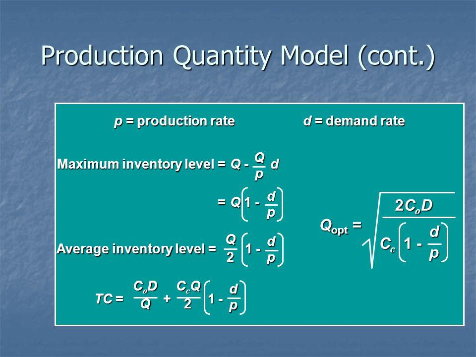 Production Quantity Model (cont.) p = production rated = demand rate Maximum inventory level =Q - d =Q 1 - Qp dp Average inventory level = 1 - Q2 dp T