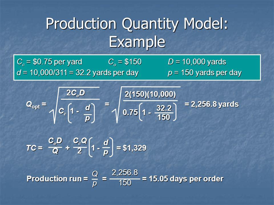 Production Quantity Model: Example C c = $0.75 per yardC o = $150D = 10,000 yards d = 10,000/311 = 32.2 yards per dayp = 150 yards per day Q opt = = =