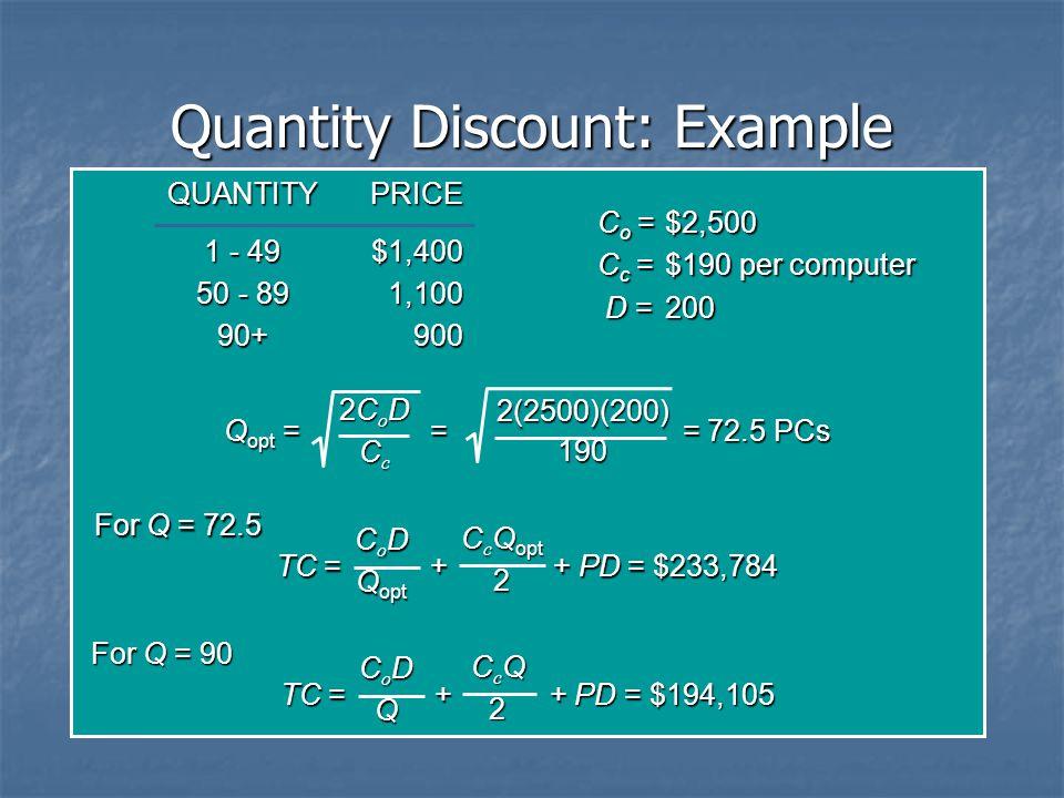 Quantity Discount: Example QUANTITYPRICE 1 - 49$1,400 50 - 891,100 90+900 C o =$2,500 C c =$190 per computer D =200 Q opt = = = 72.5 PCs 2CoD2CoDCcCc2