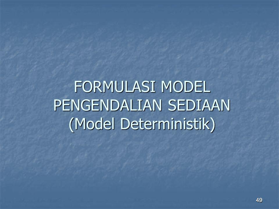 49 FORMULASI MODEL PENGENDALIAN SEDIAAN (Model Deterministik)
