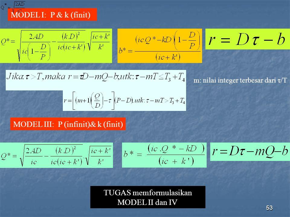 53 MODEL I: P & k (finit) m: nilai integer terbesar dari τ/T MODEL III: P (infinit)& k (finit) TUGAS memformulasikan MODEL II dan IV