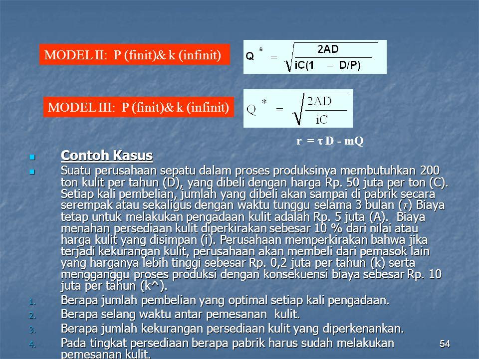54 MODEL II: P (finit)& k (infinit) MODEL III: P (finit)& k (infinit) r =  D - mQ Contoh Kasus Contoh Kasus Suatu perusahaan sepatu dalam proses prod