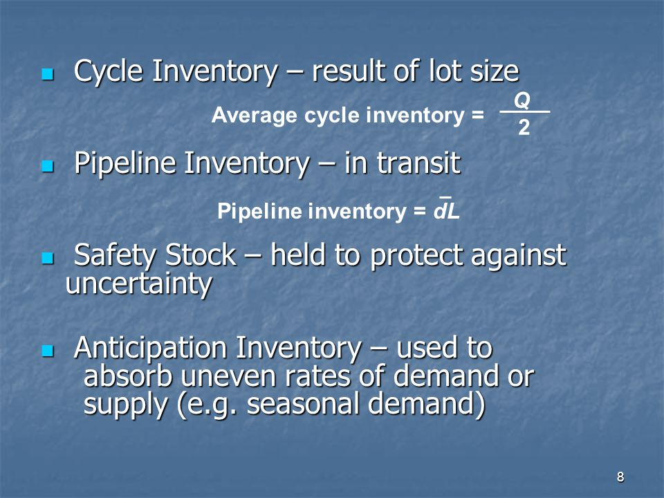 9 Taktik untuk mengurangi Tingkat Inventory Cycle inventory Pipeline inventory Safety Stock Anticipation inventory Reduce lot size Reduce lead time Various Reduce uncertainties Various