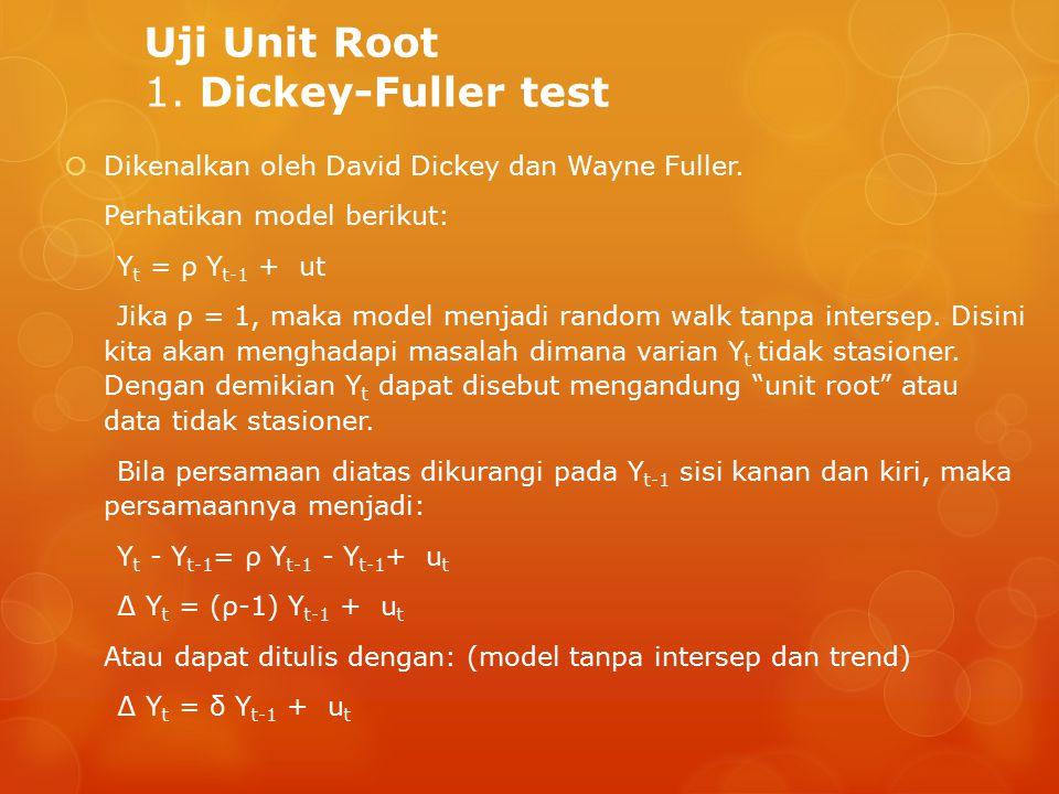 Uji Unit Root 1.Dickey-Fuller test  Dikenalkan oleh David Dickey dan Wayne Fuller.