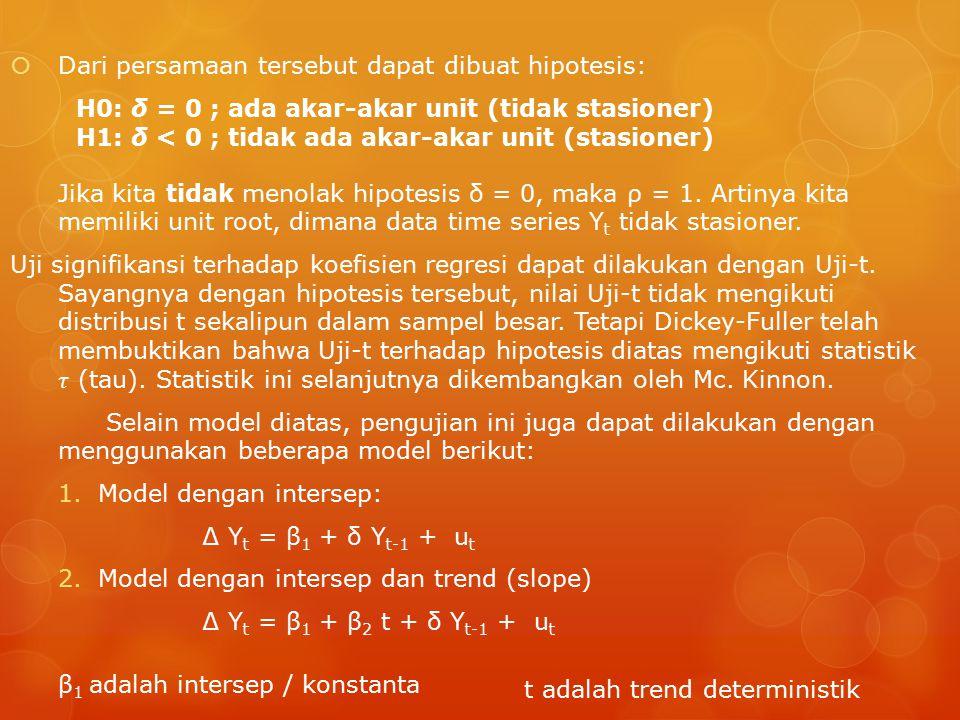 H0: δ = 0 ; ada akar-akar unit (tidak stasioner) H1: δ < 0 ; tidak ada akar-akar unit (stasioner) t adalah trend deterministik β 1 adalah intersep / konstanta