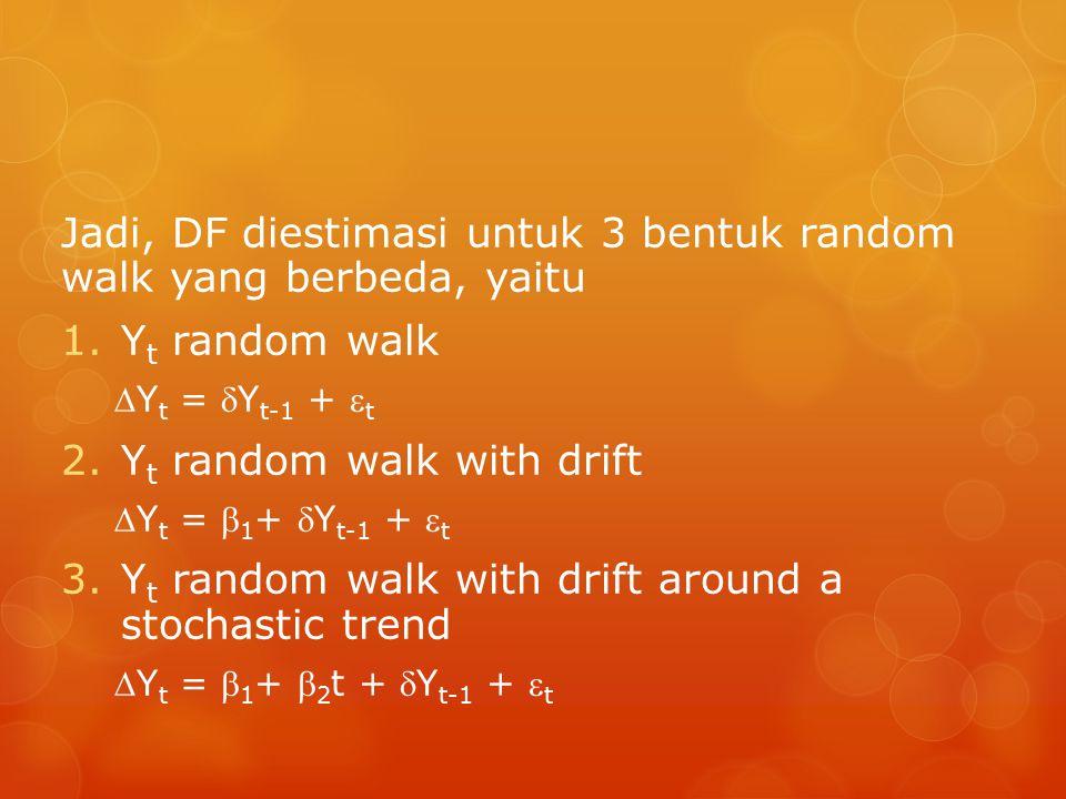 Jadi, DF diestimasi untuk 3 bentuk random walk yang berbeda, yaitu 1.Y t random walk Y t = Y t-1 +  t 2.Y t random walk with drift Y t =  1 + Y t-1 +  t 3.Y t random walk with drift around a stochastic trend Y t =  1 +  2 t + Y t-1 +  t