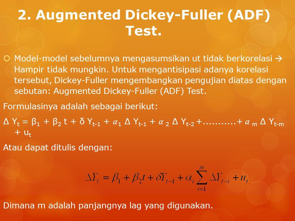 2. Augmented Dickey-Fuller (ADF) Test. Dimana m adalah panjangnya lag yang digunakan.