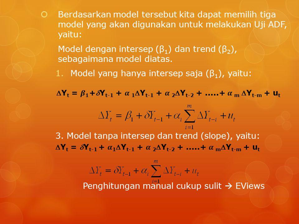  Berdasarkan model tersebut kita dapat memilih tiga model yang akan digunakan untuk melakukan Uji ADF, yaitu: Model dengan intersep (β 1 ) dan trend (β 2 ), sebagaimana model diatas.