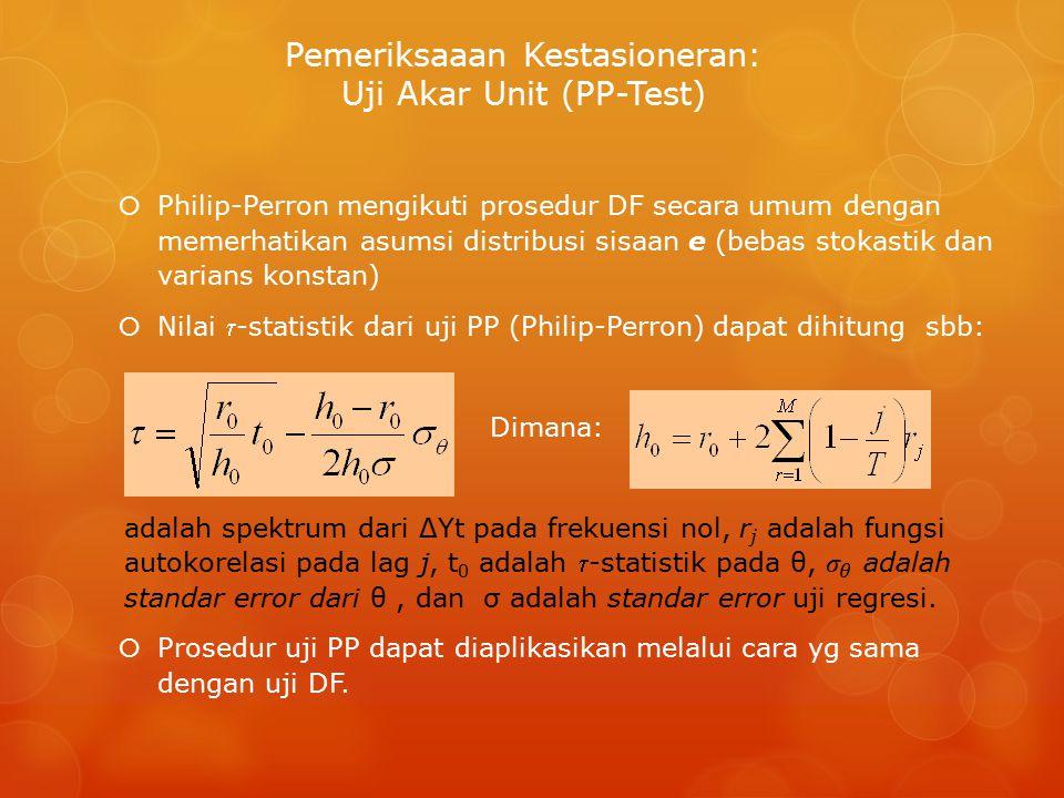 Pemeriksaaan Kestasioneran: Uji Akar Unit (PP-Test)