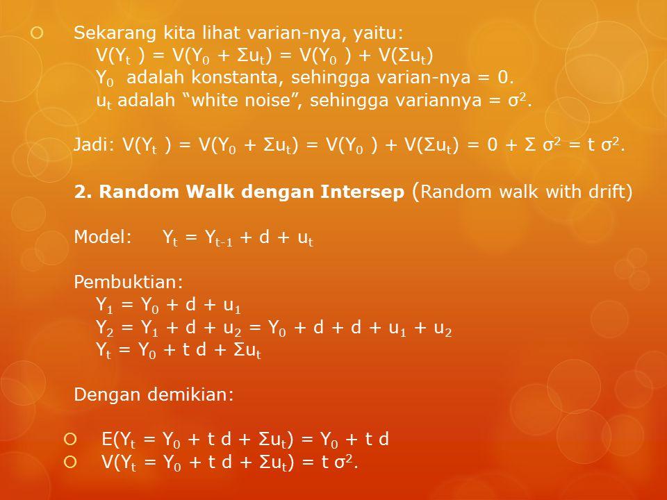  Sekarang kita lihat varian-nya, yaitu: V(Y t ) = V(Y 0 + Σu t ) = V(Y 0 ) + V(Σu t ) Y 0 adalah konstanta, sehingga varian-nya = 0.