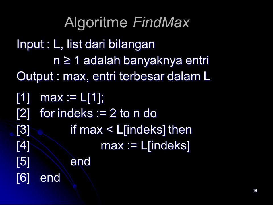 19 Algoritme FindMax Input : L, list dari bilangan n ≥ 1 adalah banyaknya entri n ≥ 1 adalah banyaknya entri Output : max, entri terbesar dalam L [1]