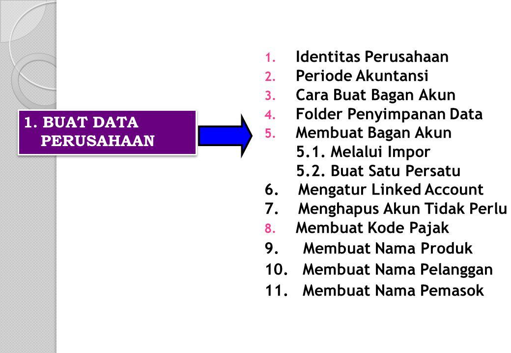 1. Identitas Perusahaan 2. Periode Akuntansi 3. Cara Buat Bagan Akun 4. Folder Penyimpanan Data 5. Membuat Bagan Akun 5.1. Melalui Impor 5.2. Buat Sat