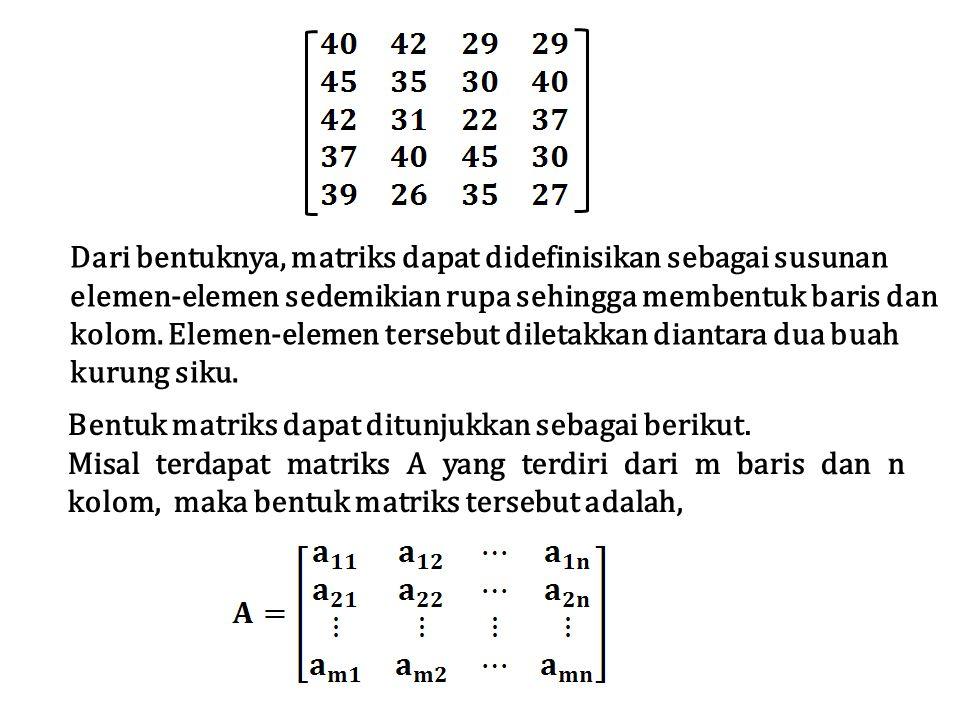 Dari bentuknya, matriks dapat didefinisikan sebagai susunan elemen-elemen sedemikian rupa sehingga membentuk baris dan kolom. Elemen-elemen tersebut d