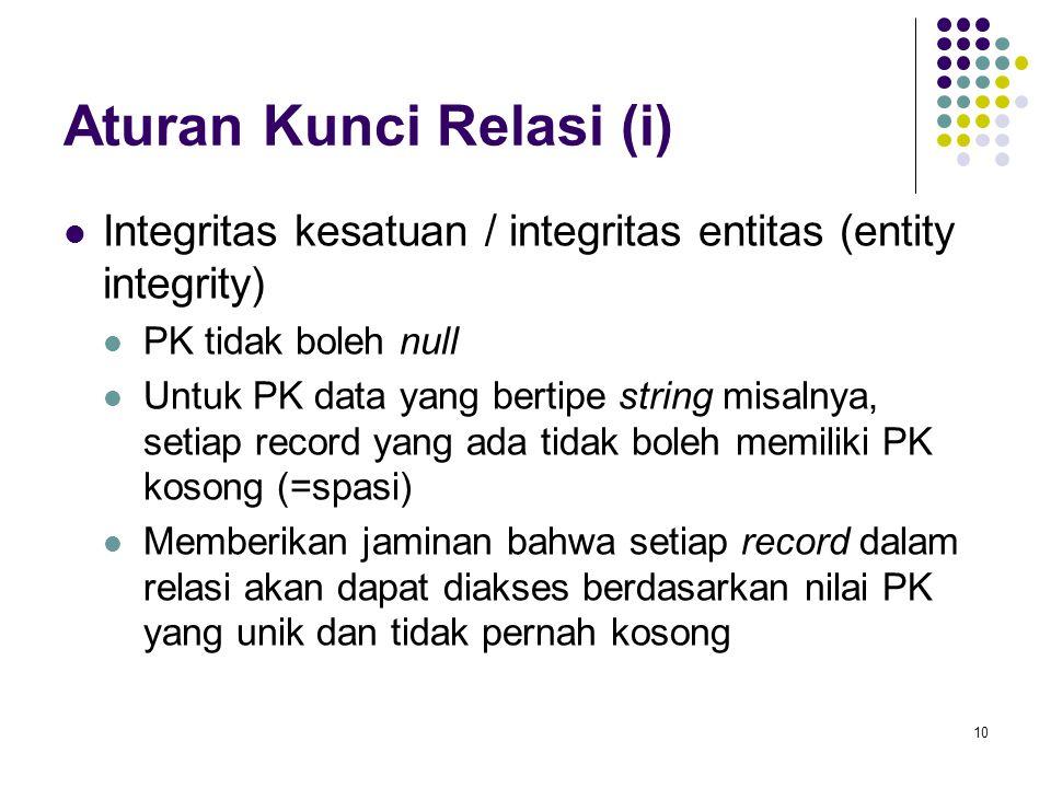 10 Aturan Kunci Relasi (i) Integritas kesatuan / integritas entitas (entity integrity) PK tidak boleh null Untuk PK data yang bertipe string misalnya,