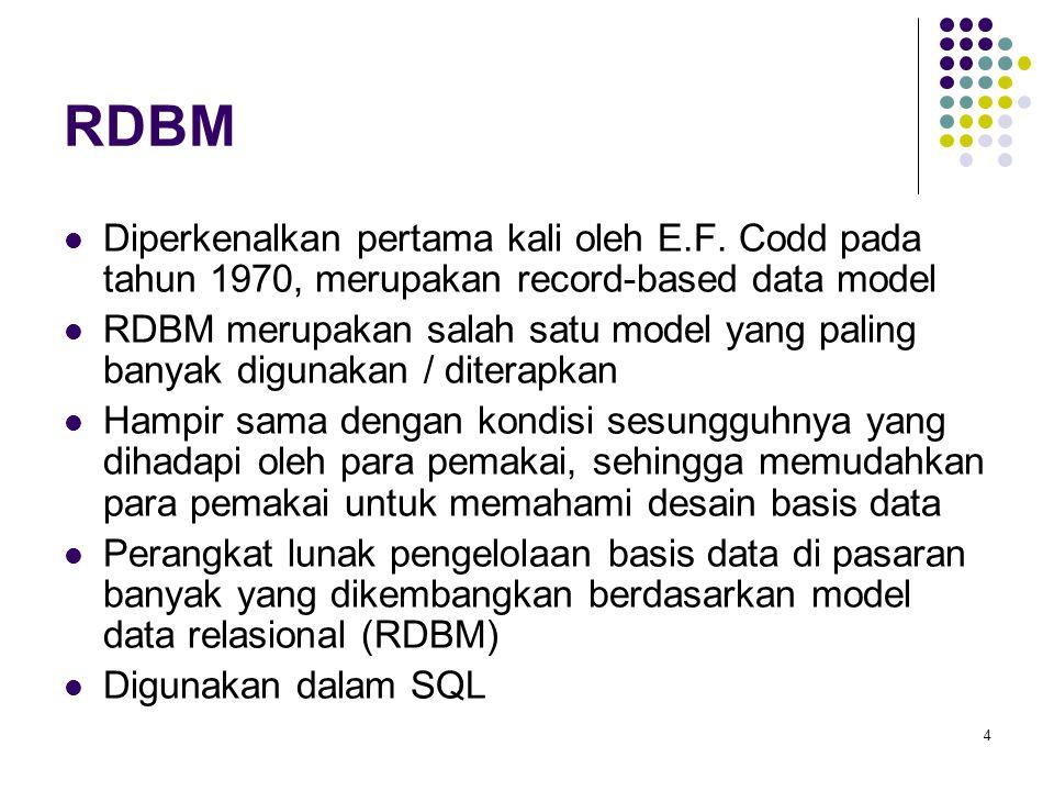 4 RDBM Diperkenalkan pertama kali oleh E.F. Codd pada tahun 1970, merupakan record-based data model RDBM merupakan salah satu model yang paling banyak