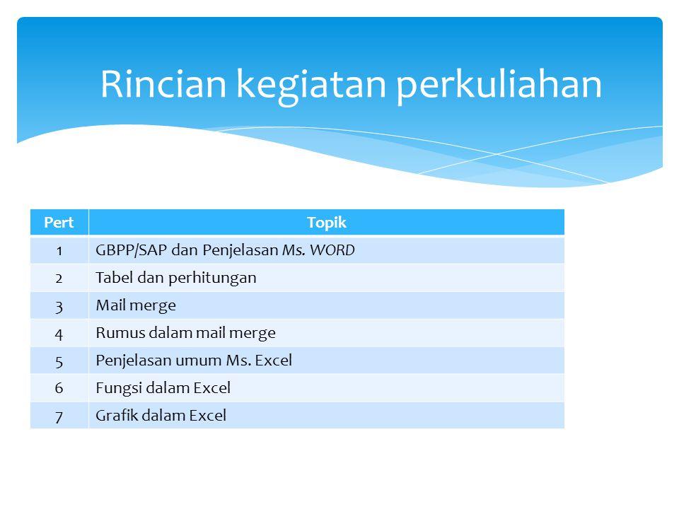 PertTopik 1GBPP/SAP dan Penjelasan Ms. WORD 2Tabel dan perhitungan 3Mail merge 4Rumus dalam mail merge 5Penjelasan umum Ms. Excel 6Fungsi dalam Excel
