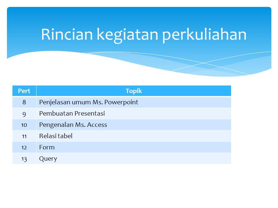 PertTopik 8Penjelasan umum Ms. Powerpoint 9Pembuatan Presentasi 10Pengenalan Ms. Access 11Relasi tabel 12Form 13Query Rincian kegiatan perkuliahan