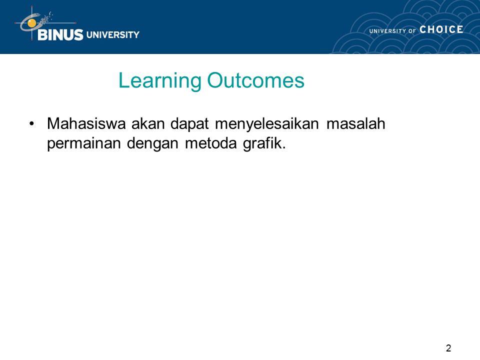 2 Learning Outcomes Mahasiswa akan dapat menyelesaikan masalah permainan dengan metoda grafik.