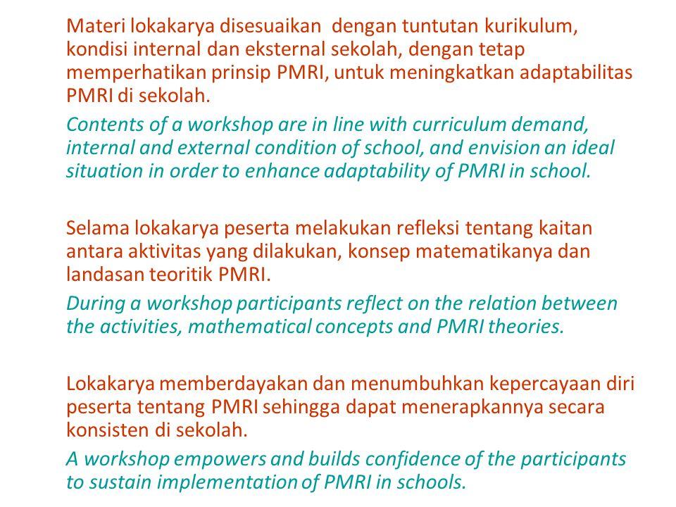 Materi lokakarya disesuaikan dengan tuntutan kurikulum, kondisi internal dan eksternal sekolah, dengan tetap memperhatikan prinsip PMRI, untuk meningkatkan adaptabilitas PMRI di sekolah.