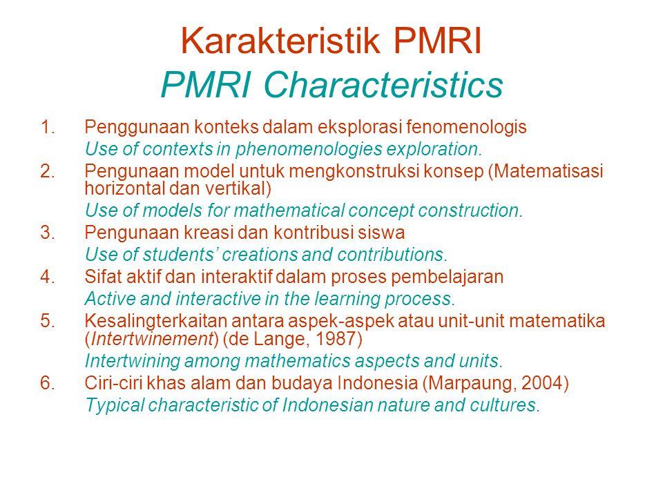 Karakteristik PMRI PMRI Characteristics 1.Penggunaan konteks dalam eksplorasi fenomenologis Use of contexts in phenomenologies exploration.