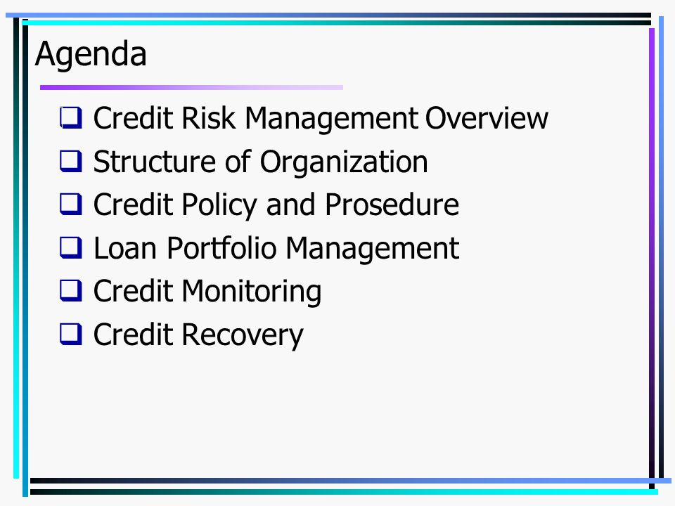 Agenda  Credit Risk Management Overview  Structure of Organization  Credit Policy and Prosedure  Loan Portfolio Management  Credit Monitoring  Credit Recovery