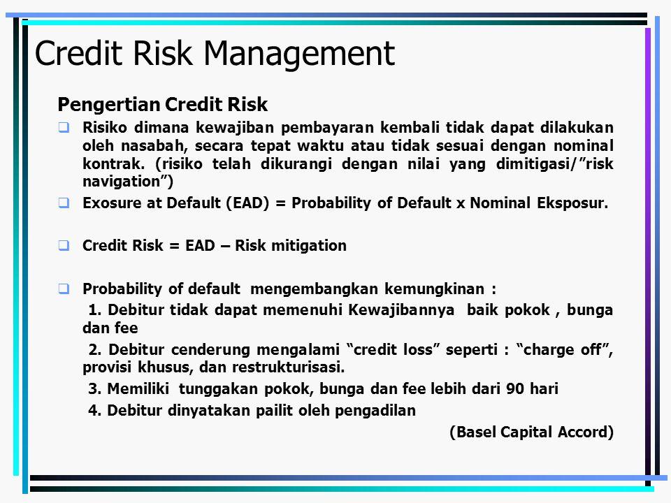 Credit Risk Management credit risk mitigation (Methods of managing credit risk)  Grading models for individual loans  Loan portofolio management  Securitization  Collateral  Cash flow monitoring  Recovery management