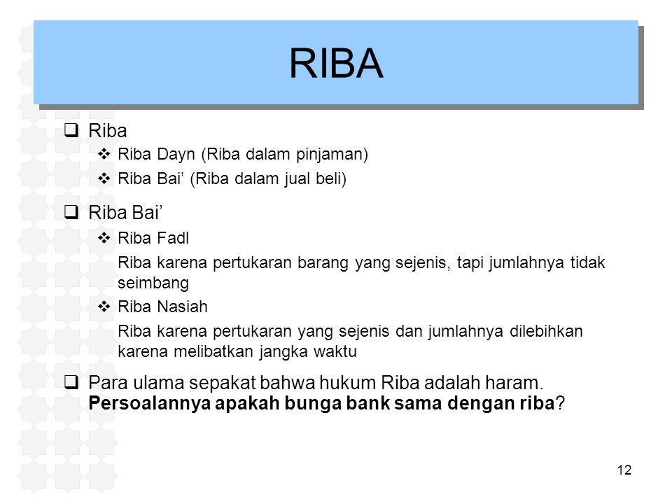 12 RIBA  Riba  Riba Dayn (Riba dalam pinjaman)  Riba Bai' (Riba dalam jual beli)  Riba Bai'  Riba Fadl Riba karena pertukaran barang yang sejenis