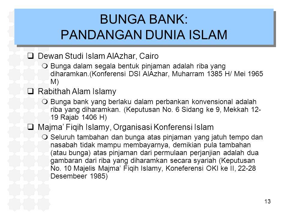 13 BUNGA BANK: PANDANGAN DUNIA ISLAM  Dewan Studi Islam AlAzhar, Cairo mBunga dalam segala bentuk pinjaman adalah riba yang diharamkan.(Konferensi DSI AlAzhar, Muharram 1385 H/ Mei 1965 M)  Rabithah Alam Islamy mBunga bank yang berlaku dalam perbankan konvensional adalah riba yang diharamkan.