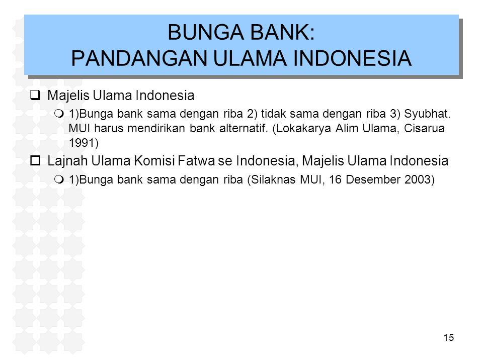 15  Majelis Ulama Indonesia m1)Bunga bank sama dengan riba 2) tidak sama dengan riba 3) Syubhat. MUI harus mendirikan bank alternatif. (Lokakarya Ali