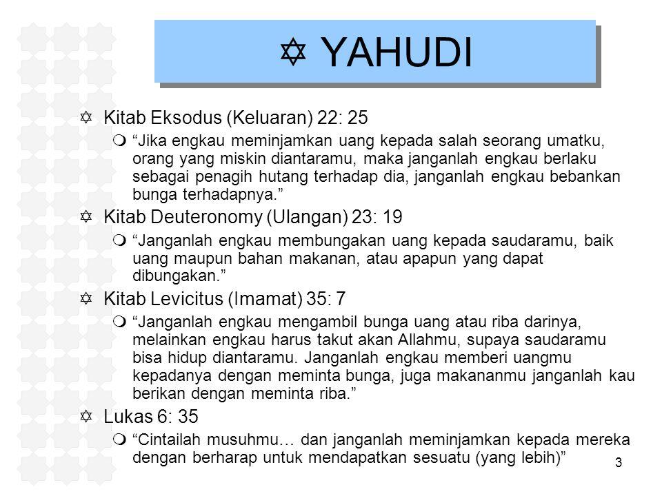 "3  YAHUDI  Kitab Eksodus (Keluaran) 22: 25 m""Jika engkau meminjamkan uang kepada salah seorang umatku, orang yang miskin diantaramu, maka janganlah"