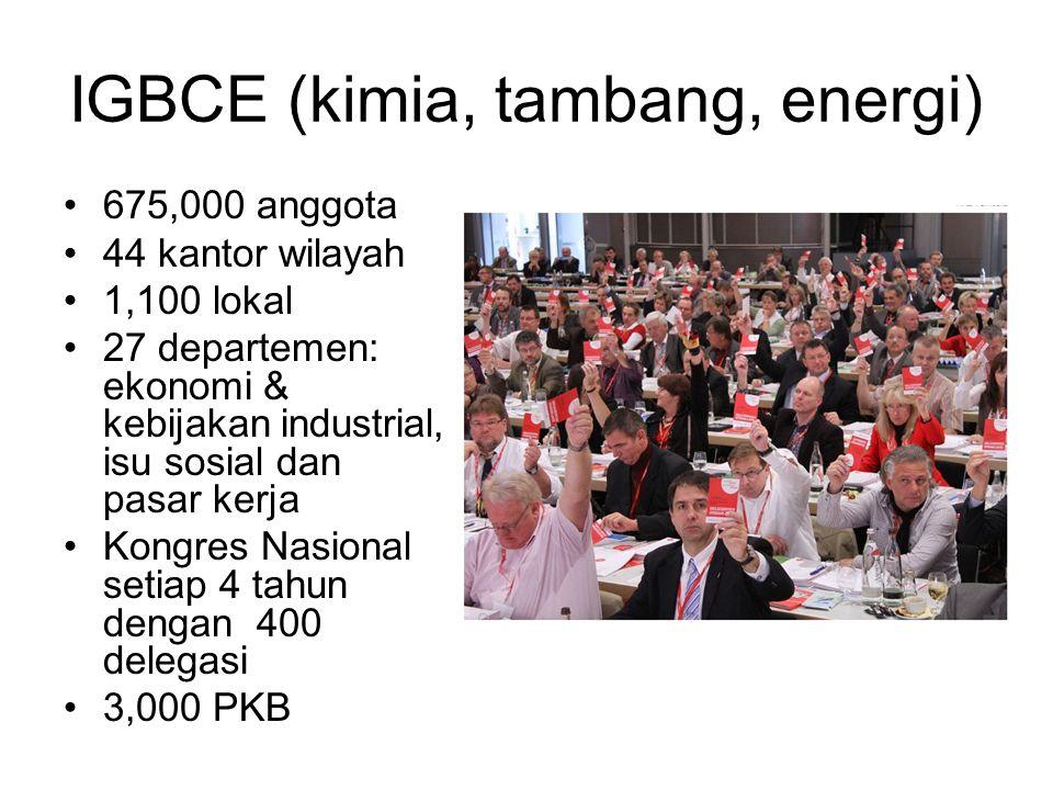 IGBCE (kimia, tambang, energi) 675,000 anggota 44 kantor wilayah 1,100 lokal 27 departemen: ekonomi & kebijakan industrial, isu sosial dan pasar kerja Kongres Nasional setiap 4 tahun dengan 400 delegasi 3,000 PKB