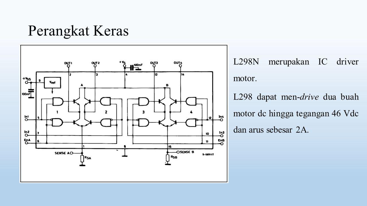 Perangkat Keras L298N merupakan IC driver motor. L298 dapat men-drive dua buah motor dc hingga tegangan 46 Vdc dan arus sebesar 2A.