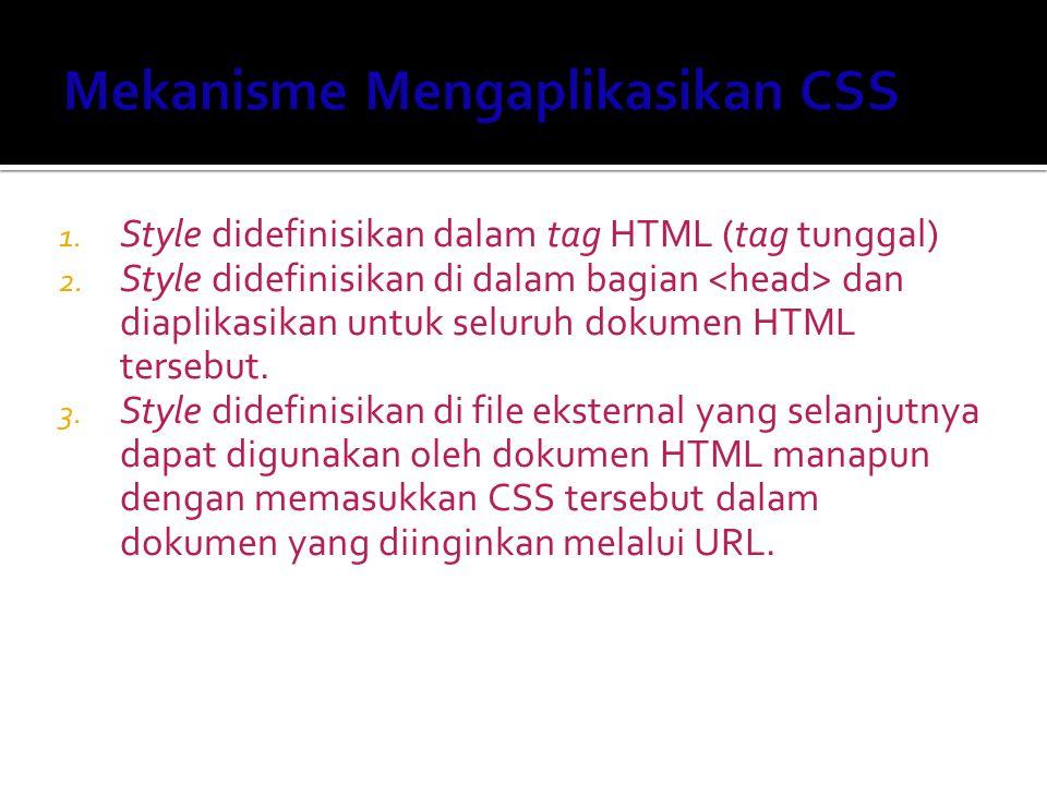 1. Style didefinisikan dalam tag HTML (tag tunggal) 2. Style didefinisikan di dalam bagian dan diaplikasikan untuk seluruh dokumen HTML tersebut. 3. S