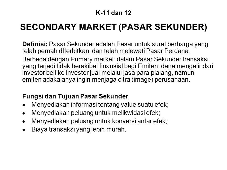 K-11 dan 12 SECONDARY MARKET (PASAR SEKUNDER) Definisi; Pasar Sekunder adalah Pasar untuk surat berharga yang telah pernah dIterbitkan, dan telah melewati Pasar Perdana.