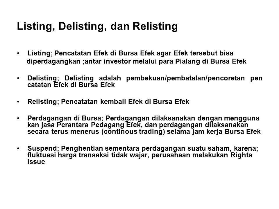 Listing, Delisting, dan Relisting Listing; Pencatatan Efek di Bursa Efek agar Efek tersebut bisa diperdagangkan ;antar investor melalui para Pialang d