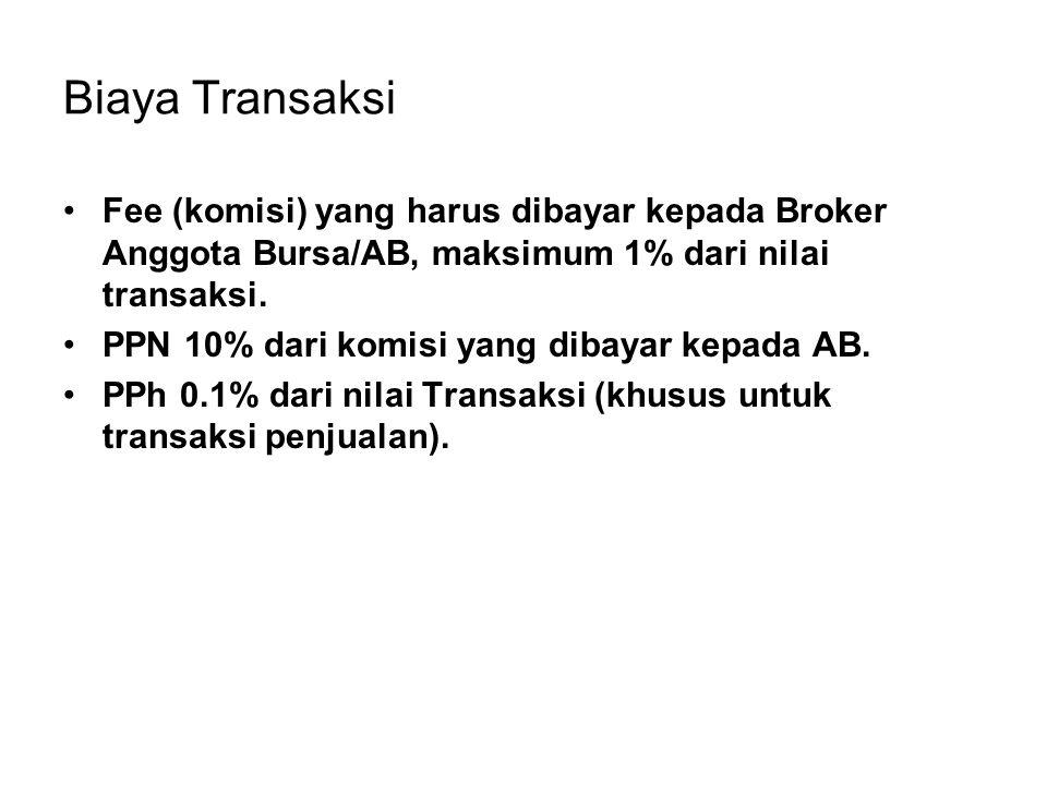 Biaya Transaksi Fee (komisi) yang harus dibayar kepada Broker Anggota Bursa/AB, maksimum 1% dari nilai transaksi. PPN 10% dari komisi yang dibayar kep