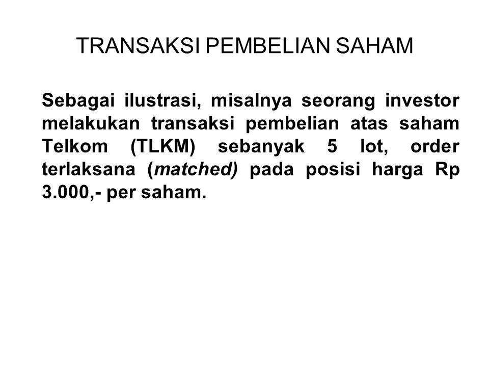 TRANSAKSI PEMBELIAN SAHAM Sebagai ilustrasi, misalnya seorang investor melakukan transaksi pembelian atas saham Telkom (TLKM) sebanyak 5 lot, order terlaksana (matched) pada posisi harga Rp 3.000,- per saham.
