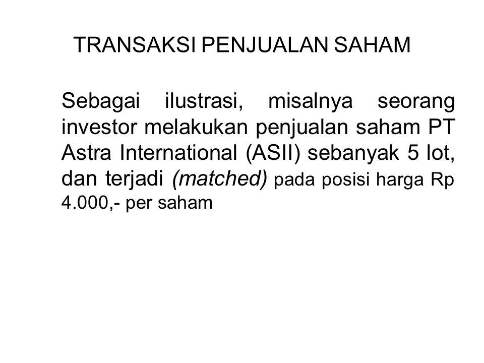 TRANSAKSI PENJUALAN SAHAM Sebagai ilustrasi, misalnya seorang investor melakukan penjualan saham PT Astra International (ASII) sebanyak 5 lot, dan terjadi (matched) pada posisi harga Rp 4.000,- per saham