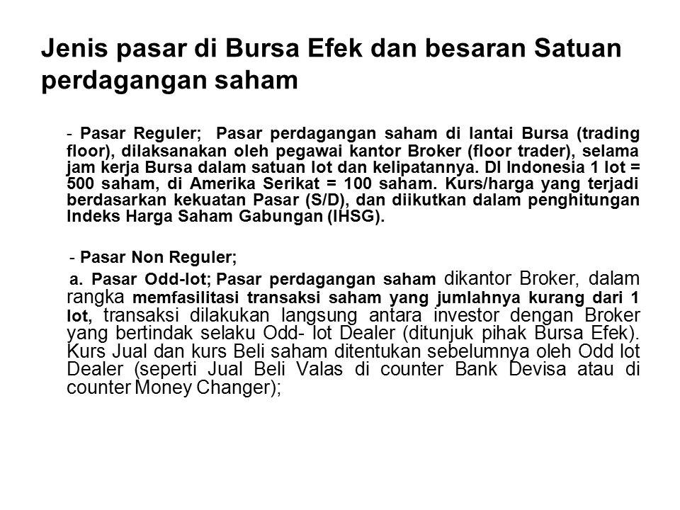 Jenis pasar di Bursa Efek dan besaran Satuan perdagangan saham - Pasar Reguler; Pasar perdagangan saham di lantai Bursa (trading floor), dilaksanakan