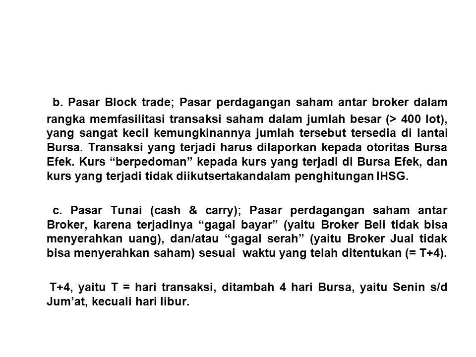 b. Pasar Block trade; Pasar perdagangan saham antar broker dalam rangka memfasilitasi transaksi saham dalam jumlah besar (> 400 lot), yang sangat keci