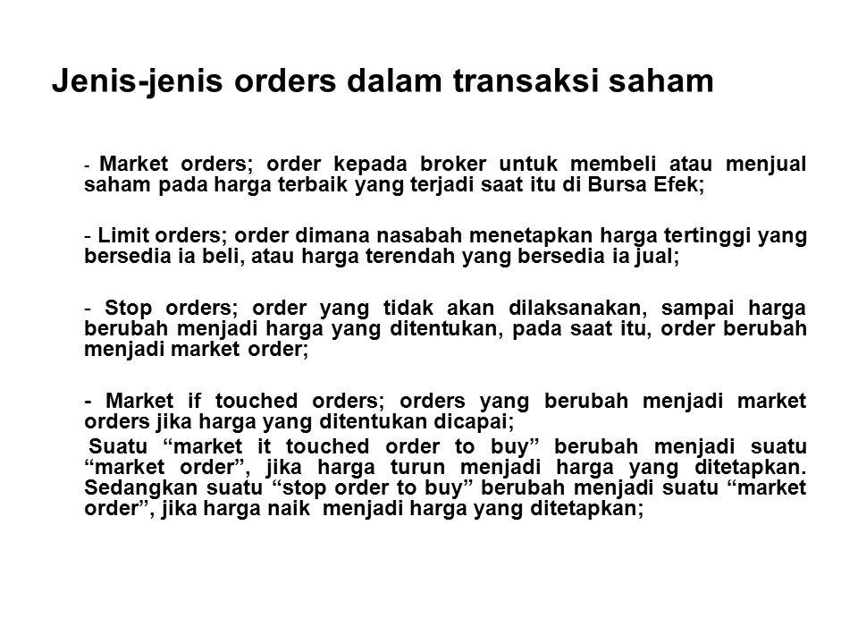 Jenis-jenis orders dalam transaksi saham - Market orders; order kepada broker untuk membeli atau menjual saham pada harga terbaik yang terjadi saat it