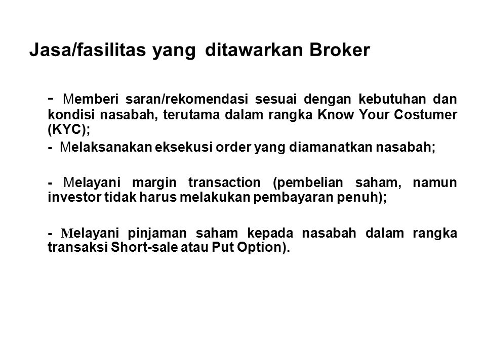 KeteranganPerhitunganNilai Uang (Rp) Transaksi Jual5 x 500saham x Rp 4.000,- 10.000.000,- Komisi untuk Broker (0.3% dari nilai transaksi) 0.3% x Rp 10.000.000,-(30.000,-) PPN 10% dari Komisi10% x Rp 30.000,-(3.000,-) PPh Penjualan (0.1% dari nilai transaksi 0.1% x Rp 10.000.000,-(10.000,-) Total biaya Penjualan saham (43.000,-) Total hasil Penjualan saham yang diterima 9.957.000,-
