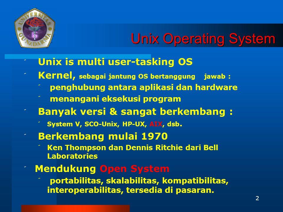 2 Unix Operating System ّ Unix is multi user-tasking OS ّ Kernel, sebagai jantung OS bertanggung jawab : ّ penghubung antara aplikasi dan hardware ّ menangani eksekusi program ّ Banyak versi & sangat berkembang : ّ System V, SCO-Unix, HP-UX, AIX, dsb.