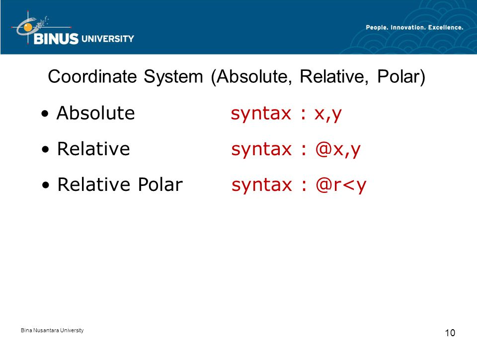 Bina Nusantara University 10 Coordinate System (Absolute, Relative, Polar) Absolutesyntax : x,y Relativesyntax : @x,y Relative Polarsyntax : @r<y