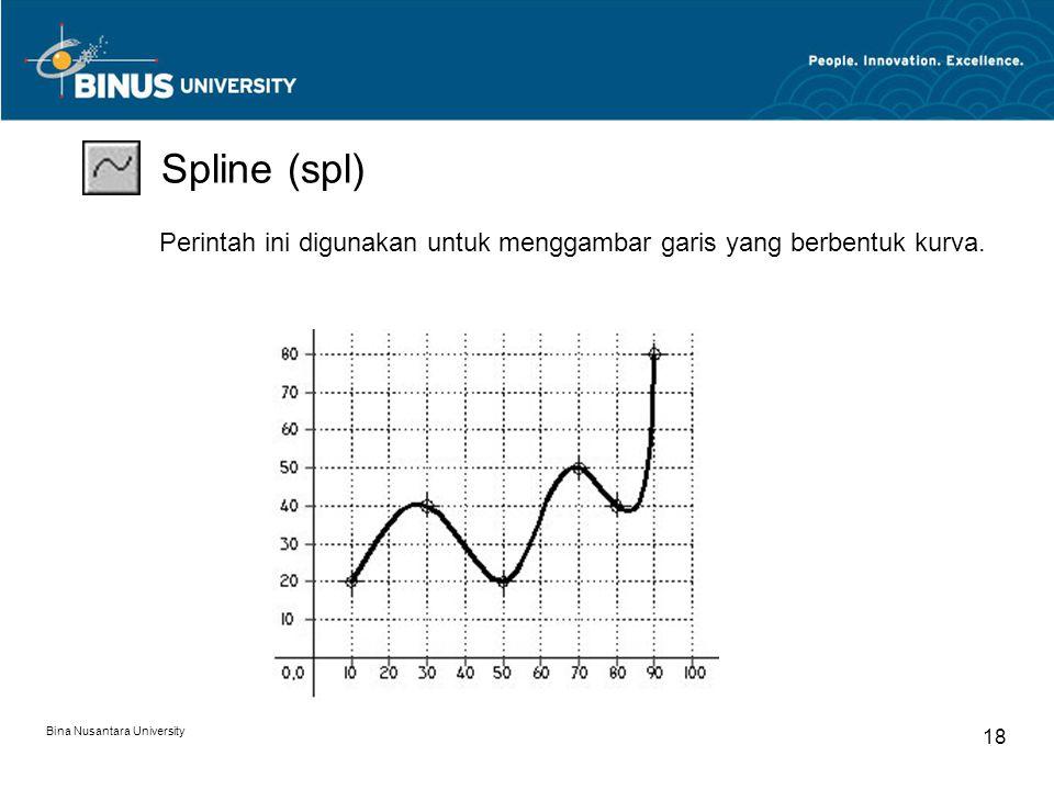 Bina Nusantara University 18 Spline (spl) Perintah ini digunakan untuk menggambar garis yang berbentuk kurva.