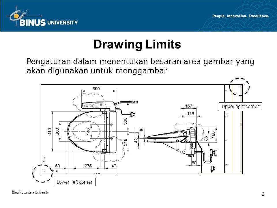 Bina Nusantara University 10 Coordinate System (Absolute, Relative, Polar) Absolutesyntax : x,y Relativesyntax : @x,y Relative Polarsyntax : @r<y
